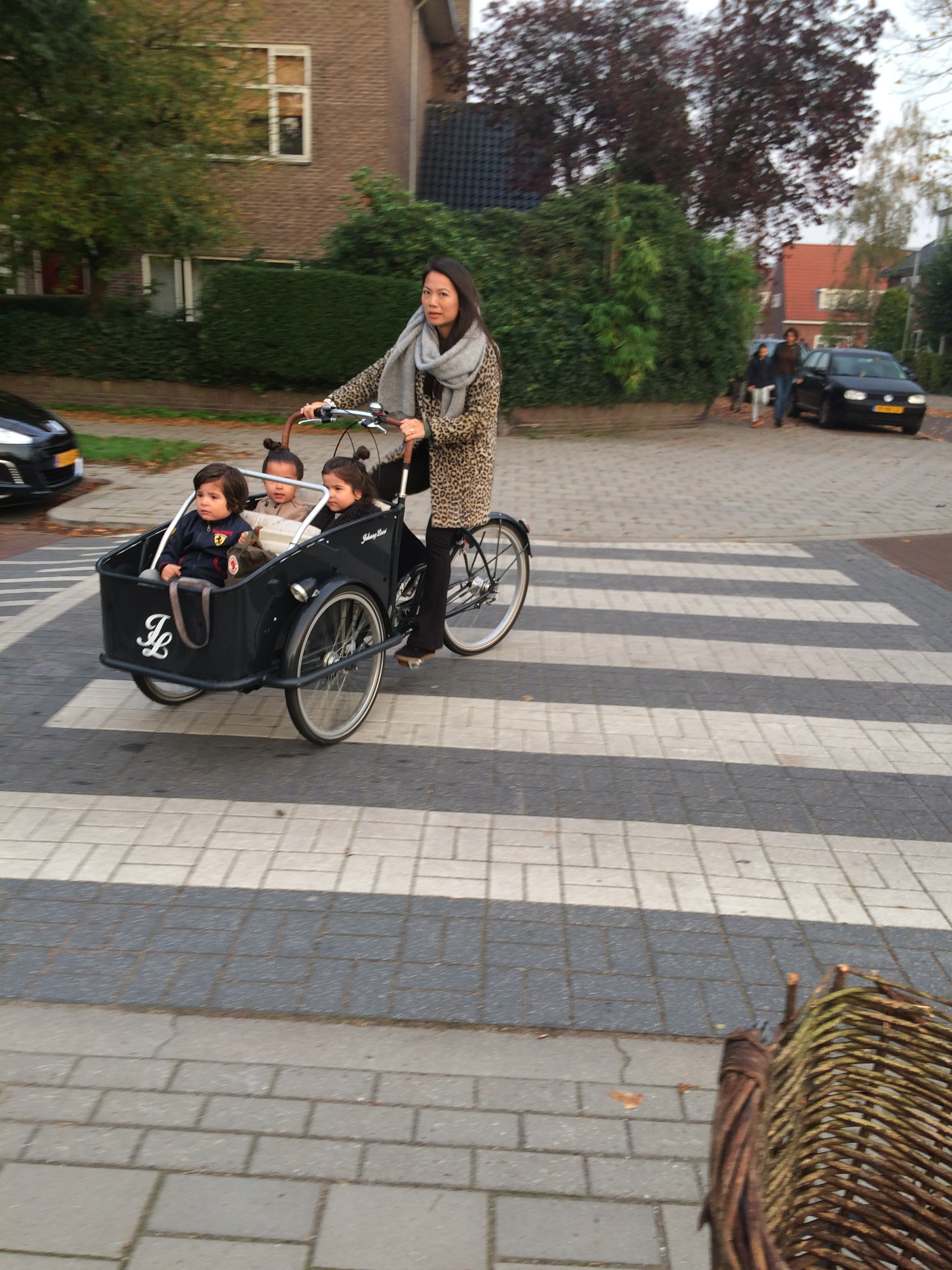 A high-end baksfiets three-seater. Note the headlight.