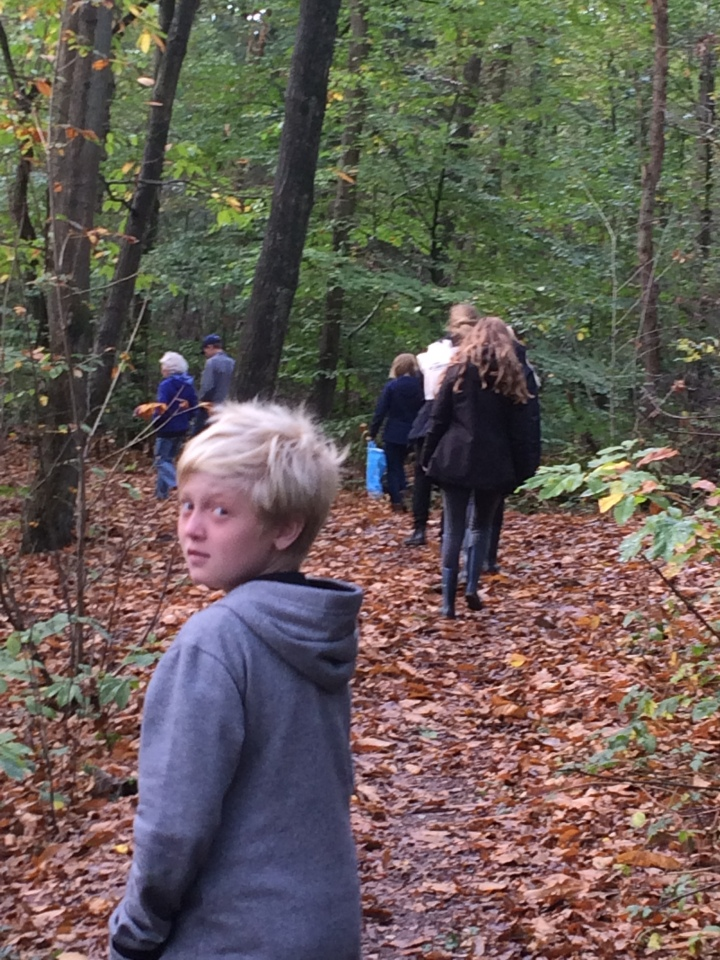 My extended Dutch family heads into the woods in search of chestnuts