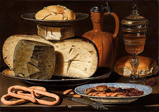 Still life with cheese, almonds, and pretzels by Clara Peeters, 1594-1657. Flowers optional.