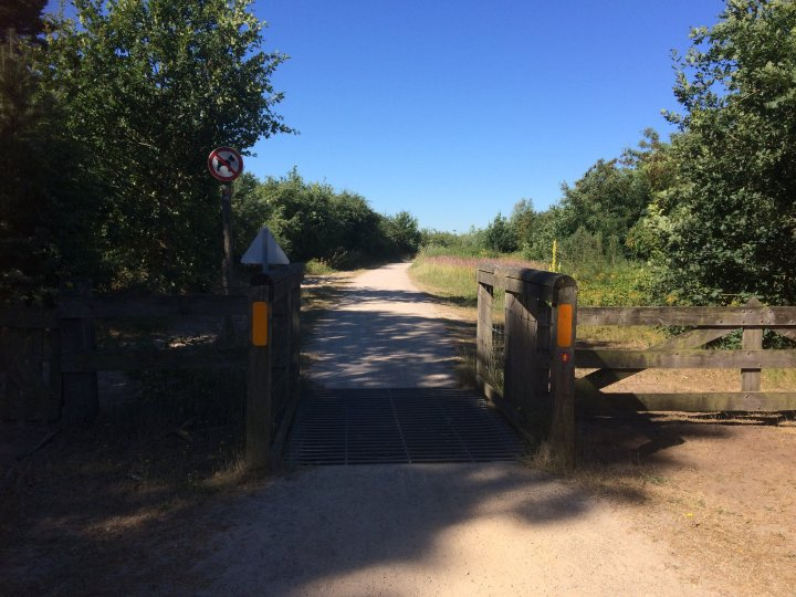 Access to the ecoduct is through a gate designed to keep the local herds of cattle wandering the heath from crossing the bridge. The path leads on.